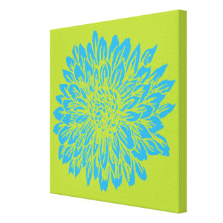 Blue and Lime Green Mum Wall Decor Canvas Print