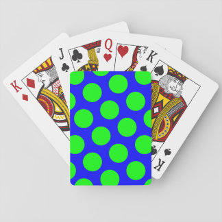 Blue and Lime Polka Dots Poker Deck