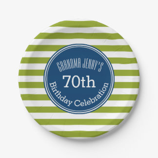 Blue and Lime Striped Pattern Green Monogram 7 Inch Paper Plate