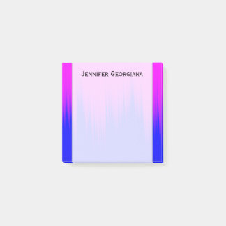Blue and Magenta Streaks Pattern + Custom Name Post-it Notes