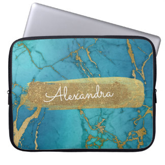 Blue and Marble with Gold Foil and Glitter Laptop Sleeve