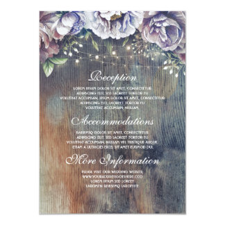 Blue and Maroon Floral Wedding Information Guest Card