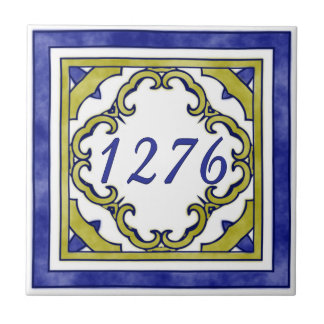 Blue and Mustard Green Small House Number Small Square Tile