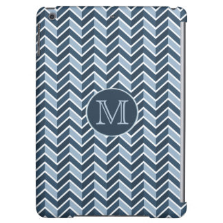 Blue and Navy Blue Chevron Pattern Monogram