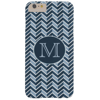 Blue and Navy Blue Chevron Pattern Monogram Barely There iPhone 6 Plus Case