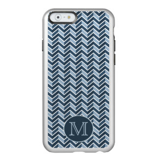 Blue and Navy Blue Chevron Pattern Monogram Incipio Feather® Shine iPhone 6 Case