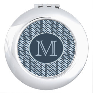 Blue and Navy Blue Chevron Pattern Monogram Mirror For Makeup