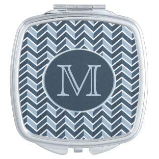 Blue and Navy Blue Chevron Pattern Monogram Vanity Mirrors