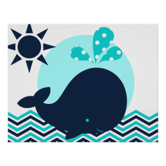 Blue and Navy Whale Nursery Poster