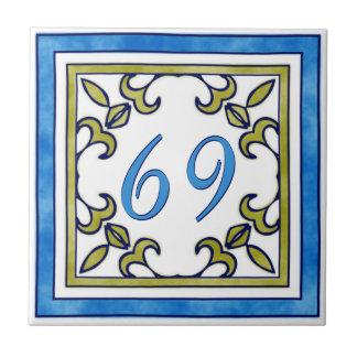 Blue and Olive Green Big House Number Tile