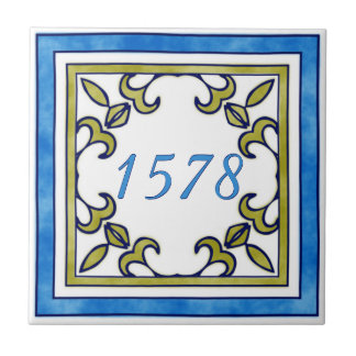 Blue and Olive Green Small House Number Ceramic Tile