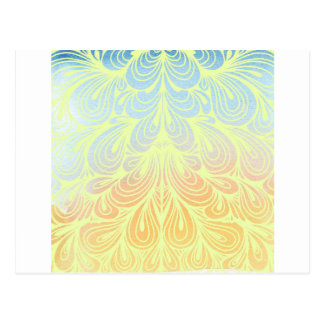 Blue and Orange Abstract Teardrop Pattern Postcard