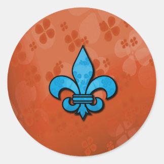 Blue and Orange Fleur de Lis Round Sticker