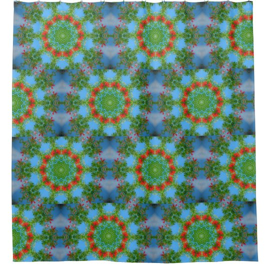 Blue And Orange Floral Kaleidoscope Shower Curtain
