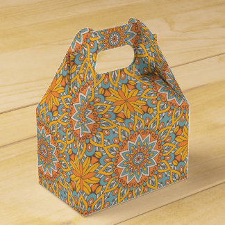 Blue and Orange Floral Mandala Favour Box
