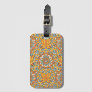 Blue and Orange Floral Mandala Luggage Tag