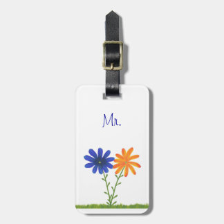 Blue and Orange Flowers Mr. Luggage Tags