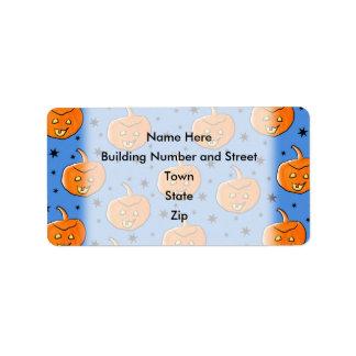 Blue and Orange Halloween Pumpkin Pattern Address Label
