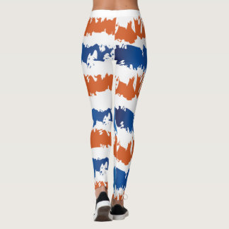 Blue and Orange Leggings Abstract Stylish Look