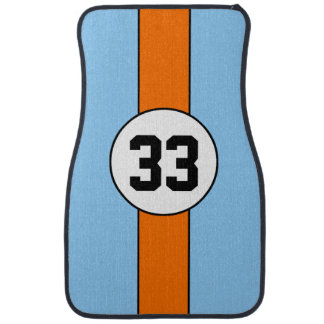 Blue and Orange Livery Racing Stripe car mats Car Mat