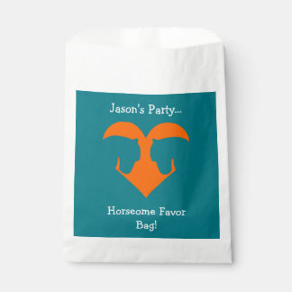 Blue and Orange Personalised Horse Favour Bag