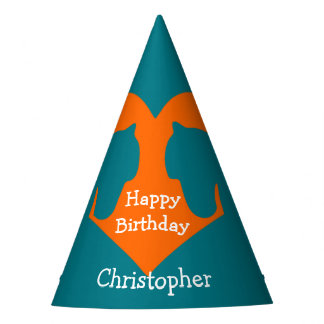 Blue and Orange Personalised Horse Party Hat