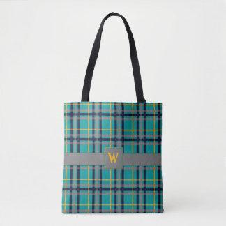 Blue and Orange Plaid All-Over-Print Bag