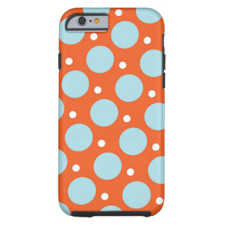 Blue and Orange Polka Dots Pattern Gifts Tough iPhone 6 Case