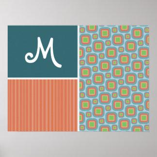 Blue and Orange Retro Pattern Print