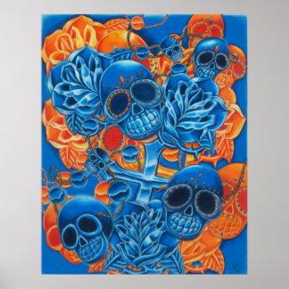 Blue and Orange Skulls Print