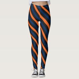 Blue and Orange Small Diagonal Stripe Leggings