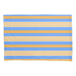 Blue and Orange Striped Pillowcase