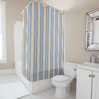 Blue and Orange Striped Shower Curtain