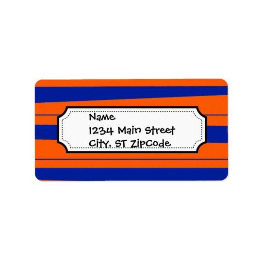 Blue and Orange Stripes Bold Gators Pattern Label