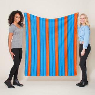 Blue and Orange Stripes Fleece Blanket