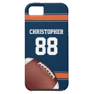 Blue and Orange Stripes Jersey Grid Iron Football Case For The iPhone 5