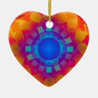 Blue and Orange Sun Pattern Ceramic Heart Decoration