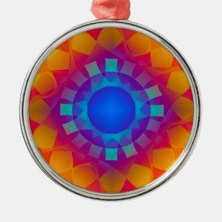 Blue and Orange Sun Pattern Metal Ornament