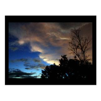 Blue and Orange Sunset Sky Postcard