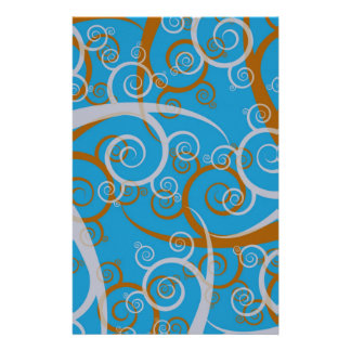 Blue And Orange Swirls Custom Stationery
