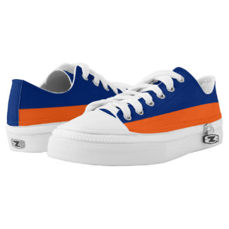 Blue and Orange Two-Tone Lo-Top Printed Shoes