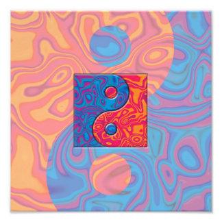 Blue and Orange Yin Yang Symbol Photo