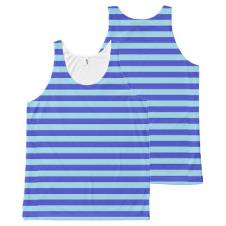 Blue and Pastel Blue Stripes All-Over Print Singlet