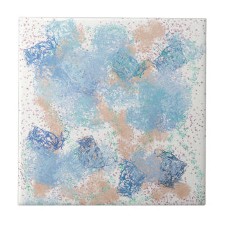 Blue and Peach Ceramic Tile