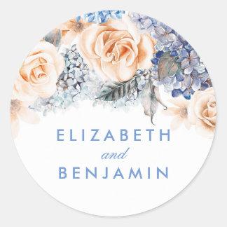 Blue and Peach Flowers Elegant Wedding Classic Round Sticker