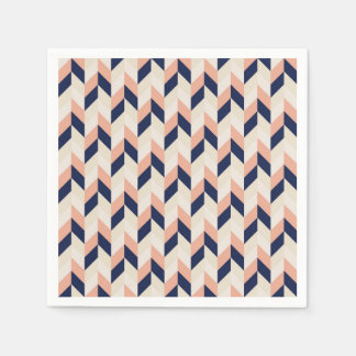 Blue and Peach Herringbone Disposable Napkin
