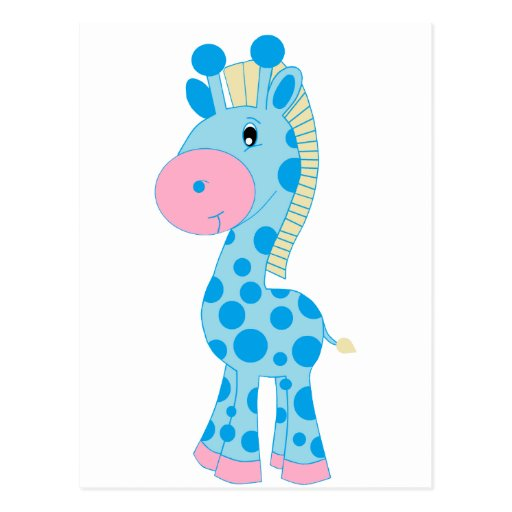 Blue and Pink Cartoon Baby Giraffe Post Cards