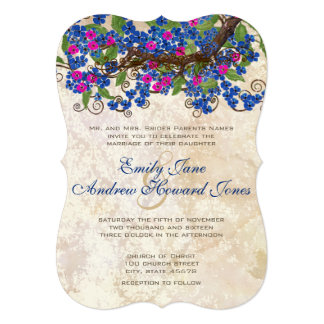 Blue and Pink Cherry Blossom Tea Stain Invitations