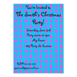 Blue and pink christmas tree pattern 11 cm x 16 cm invitation card