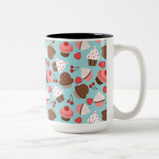 Blue And Pink Cupcakes, Hearts And Cherries Coffee Mug
